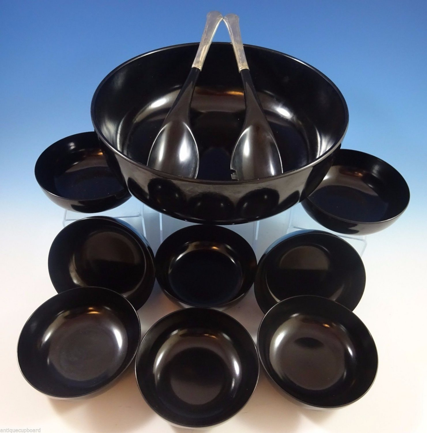 Chippendale by Towle Sterling Silver Salad Set 11Pc w/Black Melamine (#1189)