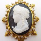 14k High Relief Black & White Cameo Pin / Pendant (#3418)