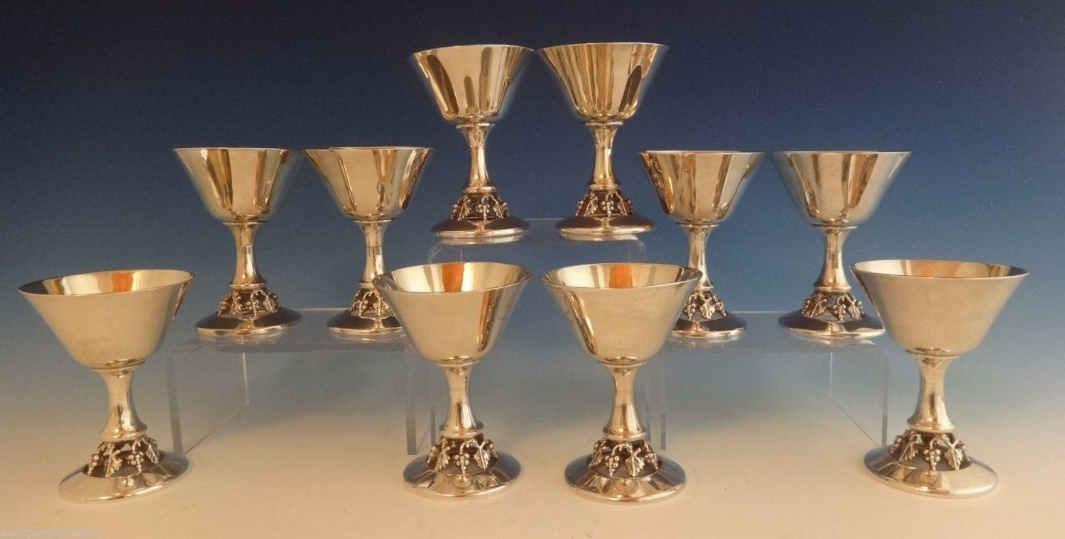 "Woodside Sterling Silver Wine Cup Set 10Pc 4 1/2"" Tall (#0898)"