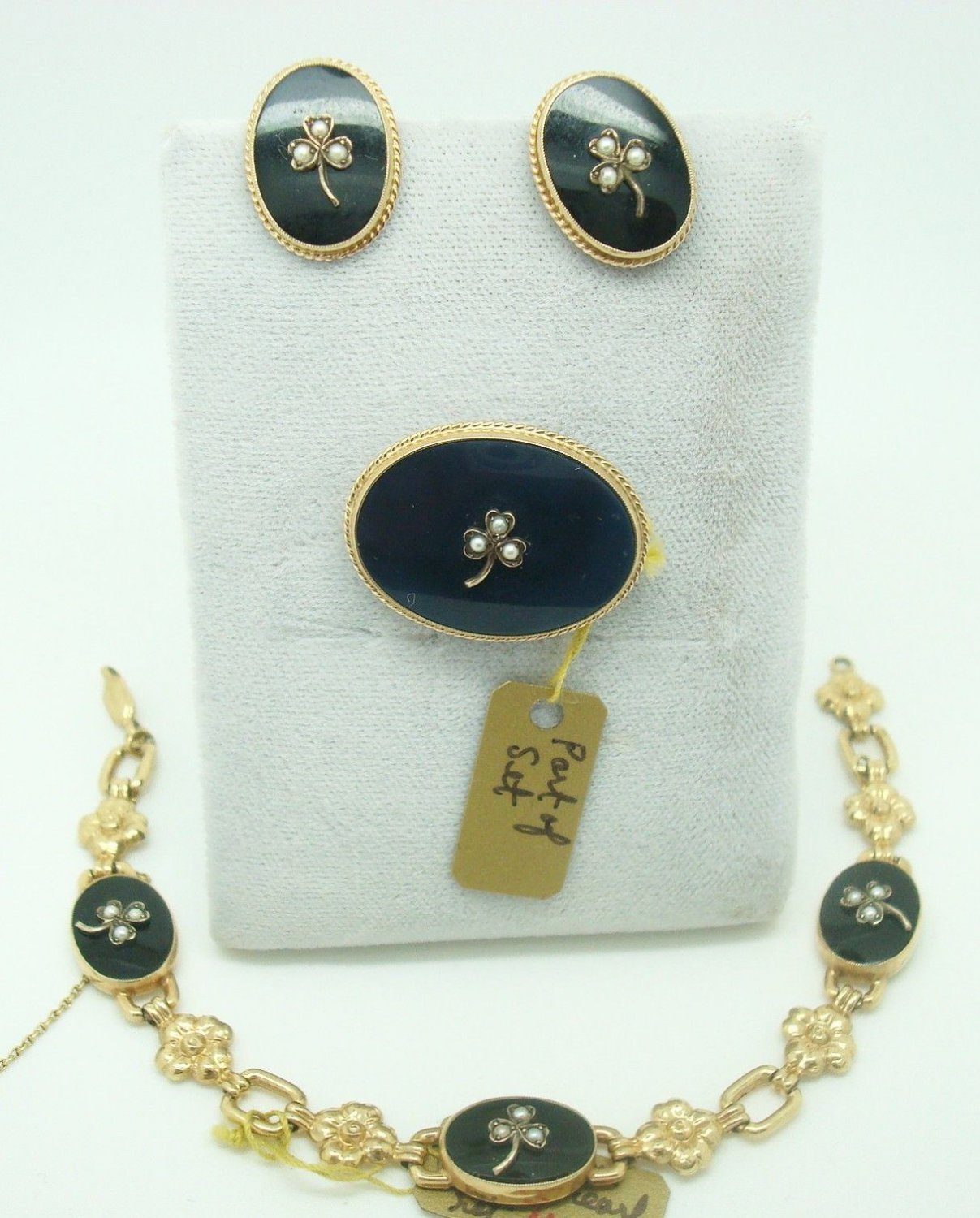 10K Gold 4pc Onyx Bracelet, Pin & Earring Set (#1664)
