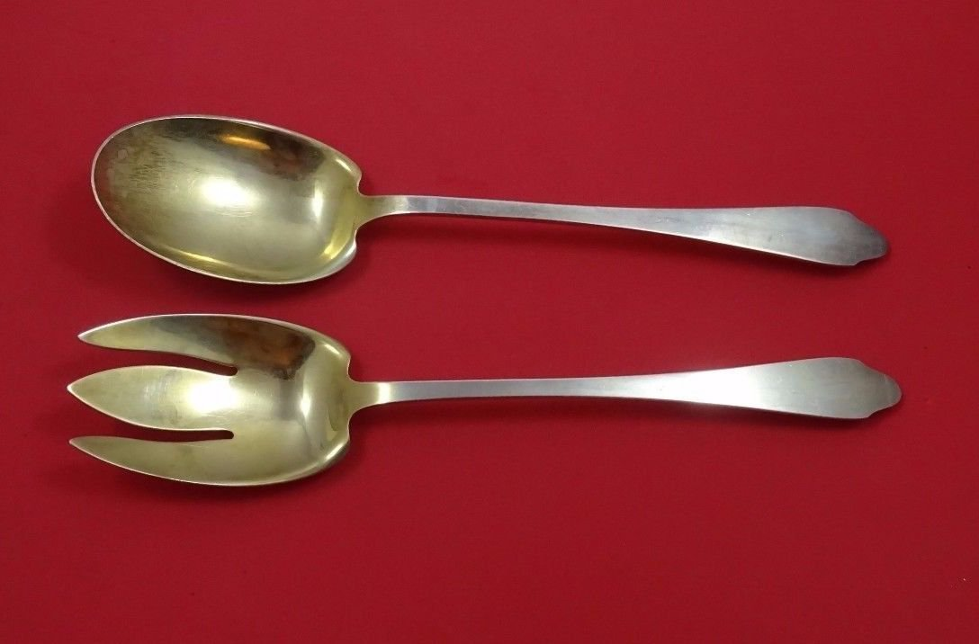 """Clinton by Tiffany and Co Sterling Silver Salad Serving Set 2pc GW 9 3/4"""""""