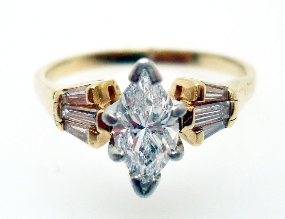 14K Gold Marquise 3/4ct Genuine Natural Diamond Ring with 1/4 Diamonds (#2734)