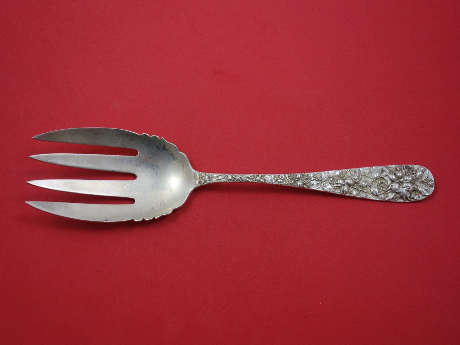 Baltimore Rose by Schofield Sterling Silver Salad Serving Fork 9 1/4""