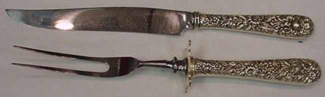 "Repousse by Kirk Sterling Silver Steak Carving Set 10 3/4"" 2pc"