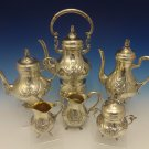 German Sterling Silver Tea Set 6pc Handmade w/Applied Flowers (#0435)