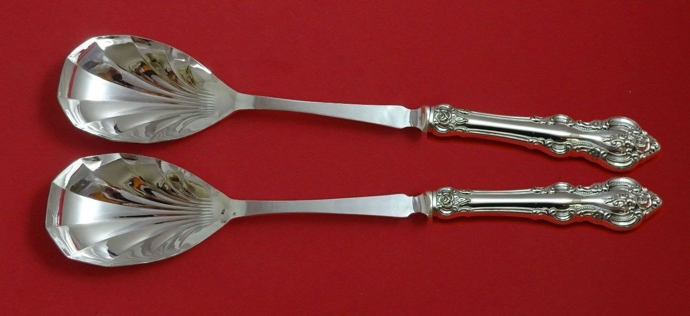 "El Grandee by Towle Sterling Silver Salad Serving Set 2pc Fluted 11 3/8"" Custom"