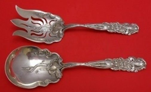 Raphael by Alvin Sterling Silver Salad Serving Set 9 1/2""