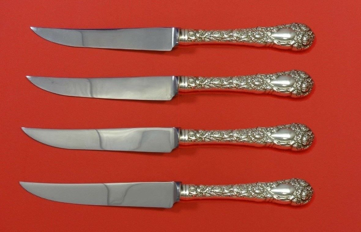 "Chrysanthemum by Durgin Sterling Silver Steak Knife Set 4pc HHWS  Custom 8 1/2"""