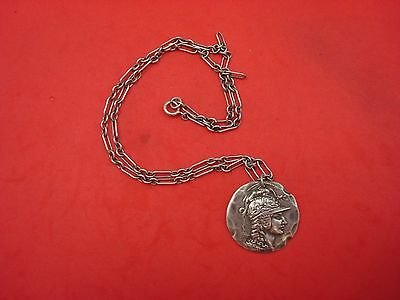 """Medallion Sterling Silver Pendant On Paperclip Chain Signed """"Em"""" 1 1/4"""" Diameter"""