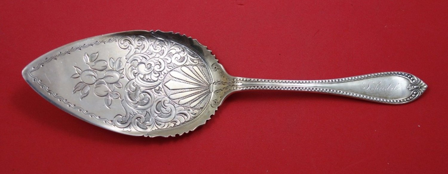 """Beaded by Vanderslice Sterling Silver Pie Server FHAS BC with Peaches 9 1/2"""""""