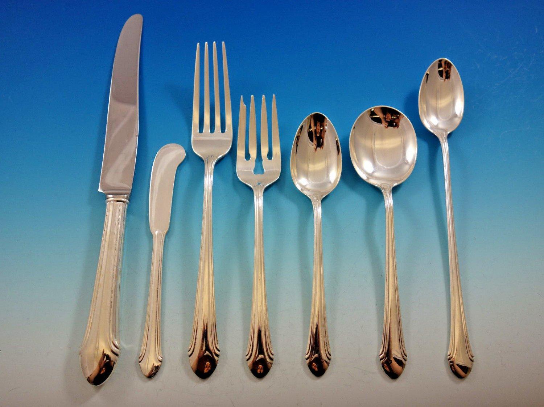 Romantique by Alvin Sterling Silver Flatware Set for 12 Service 90 pcs Dinner