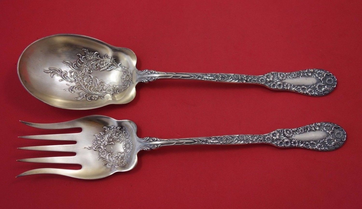 Number 10 by Dominick & Haff Sterling Silver Salad Serving Set 2pc GW w/ Flowers