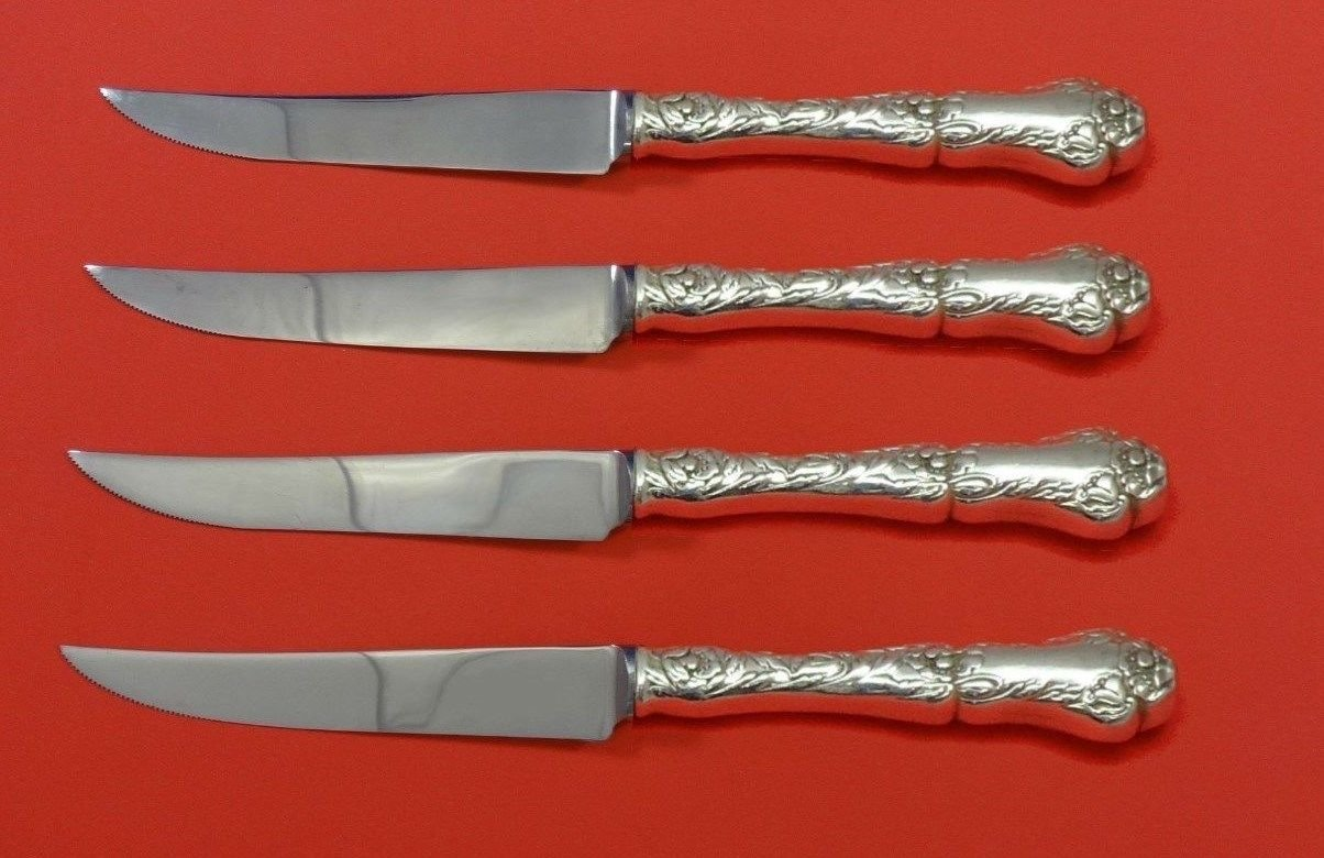 Poppy by Gorham Sterling Silver Steak Knife Set 4pc HHWS  Custom Made 8 1/2""