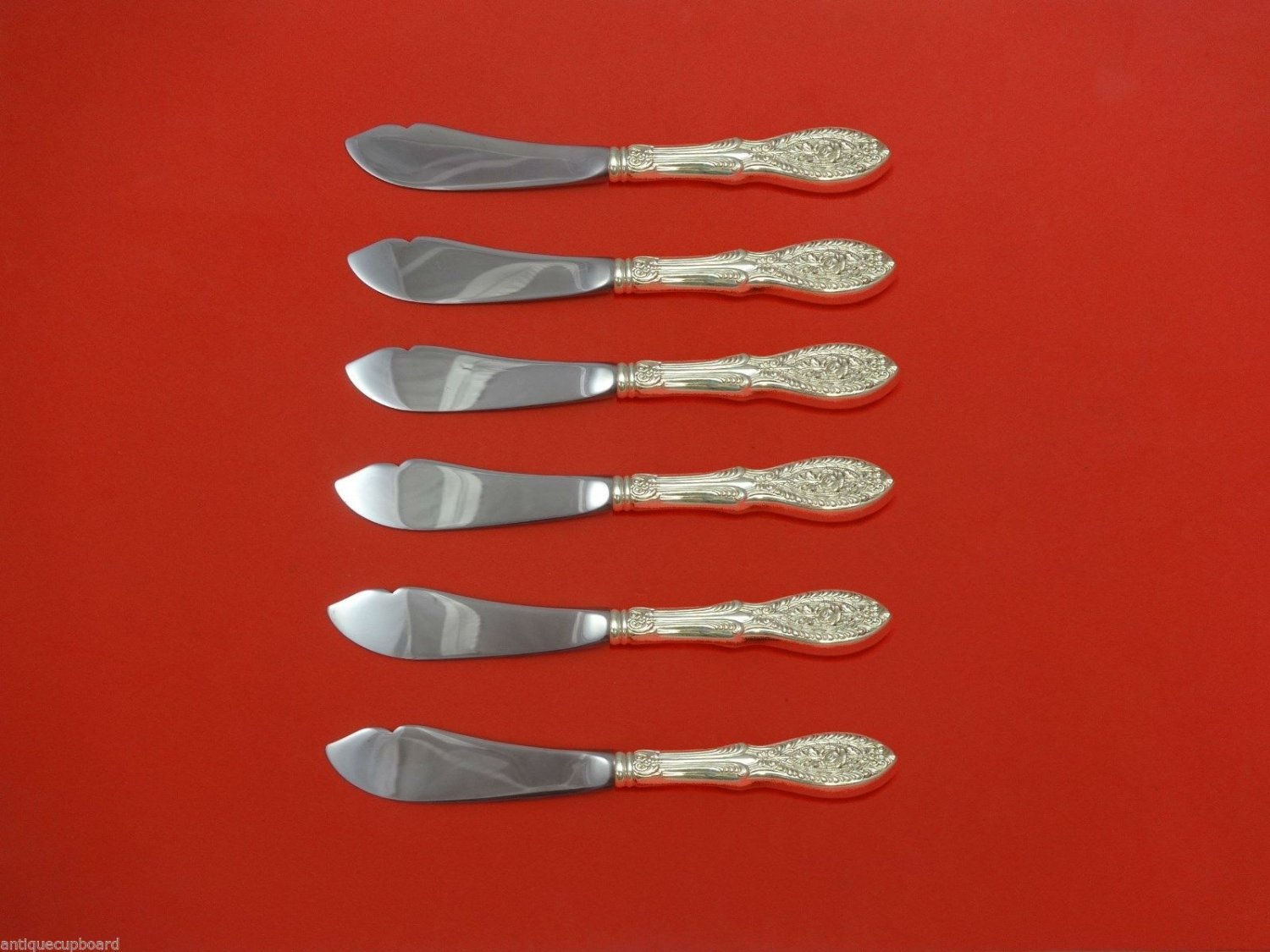 Valenciennes by Manchester Sterling Silver Trout Knife Set 6pc. Custom 7 1/2""