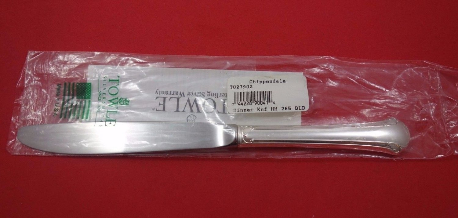 "Chippendale by Towle Sterling Silver Dinner Knife Modern 9 5/8"" New"