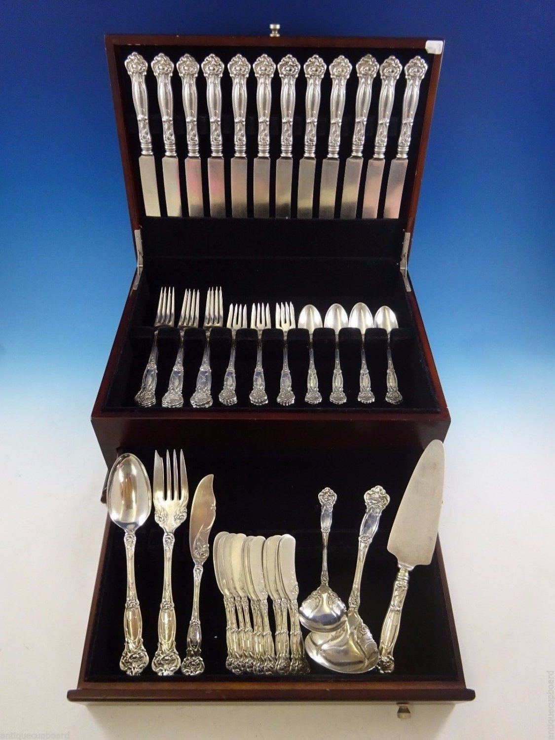 Carnation by Wallace Sterling Silver Flatware Set For 12 Dinner Service 66 Pcs