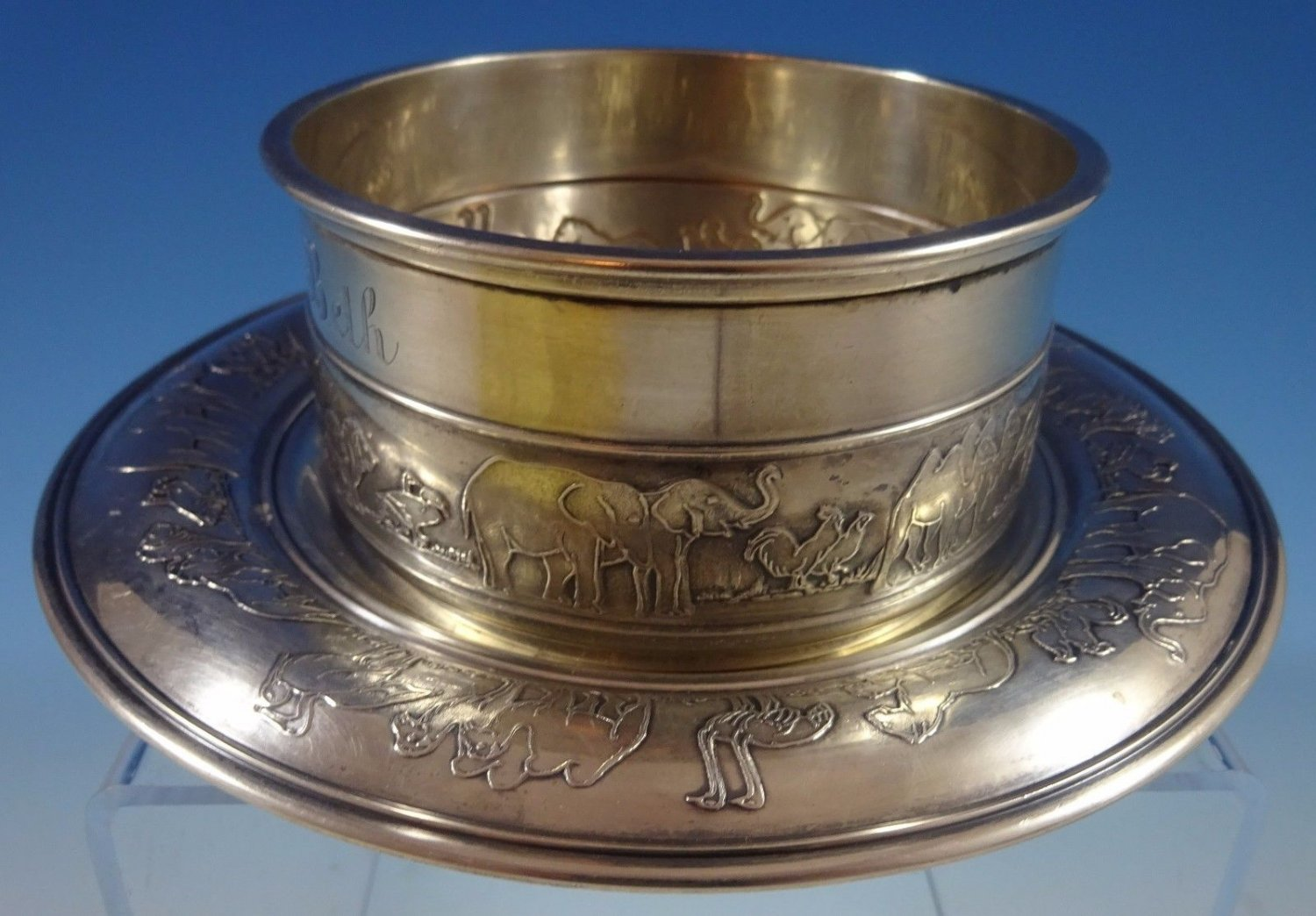 Noahs Ark by Gorham Sterling Silver Child'S Set 2pc Bowl and Underplate (#1238)