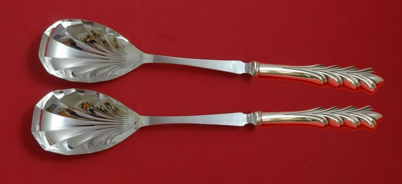 "Crest of Arden by Tuttle Sterling Silver Salad Serving Set Fluted 11 3/8"" Custom"