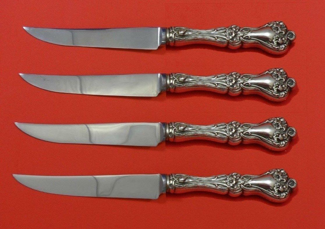 "Majestic by Alvin Sterling Silver Steak Knife Set 4pc HHWS  Custom Made 8 1/2"""