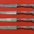 Majestic by Alvin Sterling Silver Steak Knife Set 4pc HHWS  Custom Made 8 1/2""