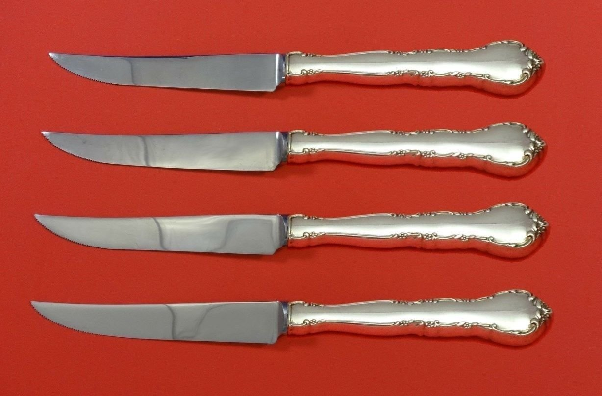 Mignonette by Lunt Sterling Silver Steak Knife Set 4pc HHWS  Custom Made 8 1/2""