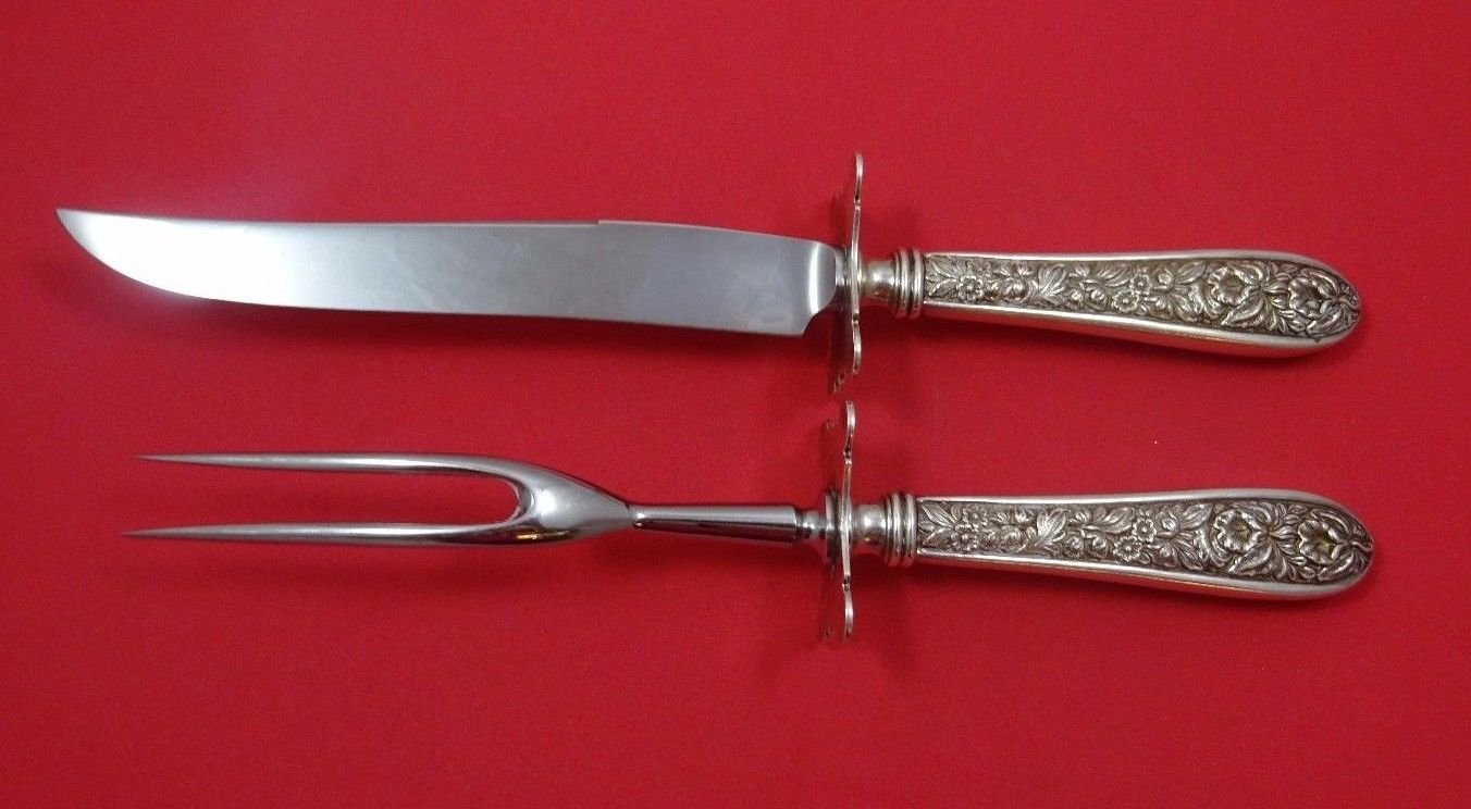 """Corsage by Stieff Sterling Silver Steak Carving Set 2Pc HHWS W Large 9 3/4"""" Fork"""