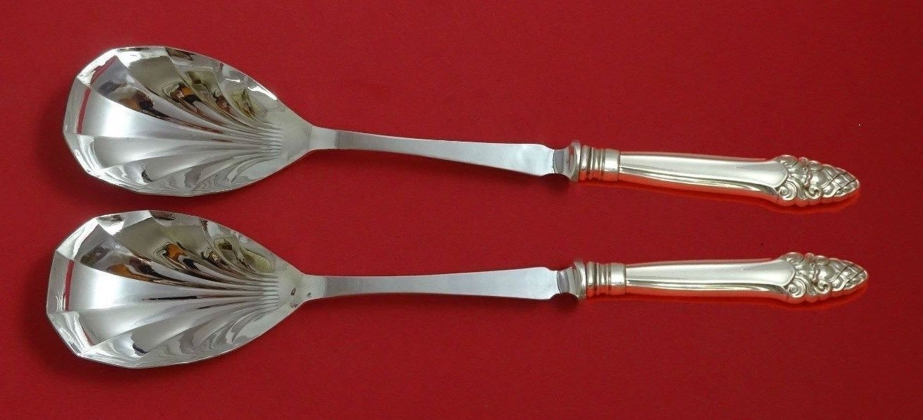 """Sovereign Old by Gorham Sterling Silver Salad Set 2pc HH Fluted 11 3/8"""" Custom"""