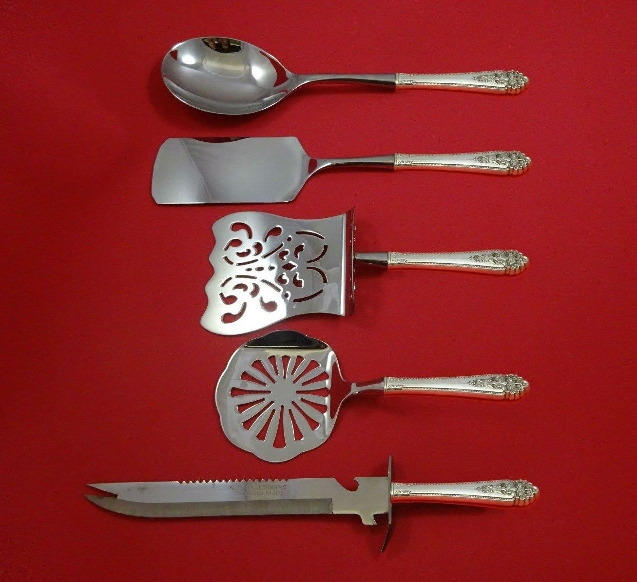 Queen's Lace by International Sterling Silver Brunch Serving Set 5pc Custom