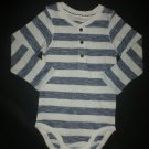 NWOT Lindex Boutique Baby Boy Long Sleeve Blue White Striped Bodysuit 12-18 M