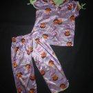 Nickelodeon Dora The Explorer Girls Purple Silky Short Sleeve Pajamas Set Size 4