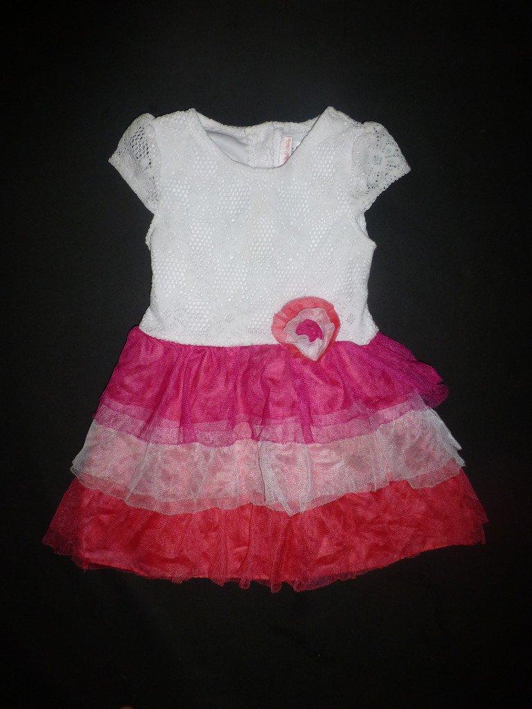 Youngland Girls White Eyelet Lace Pink Ruffle Tutu Dress Size 4