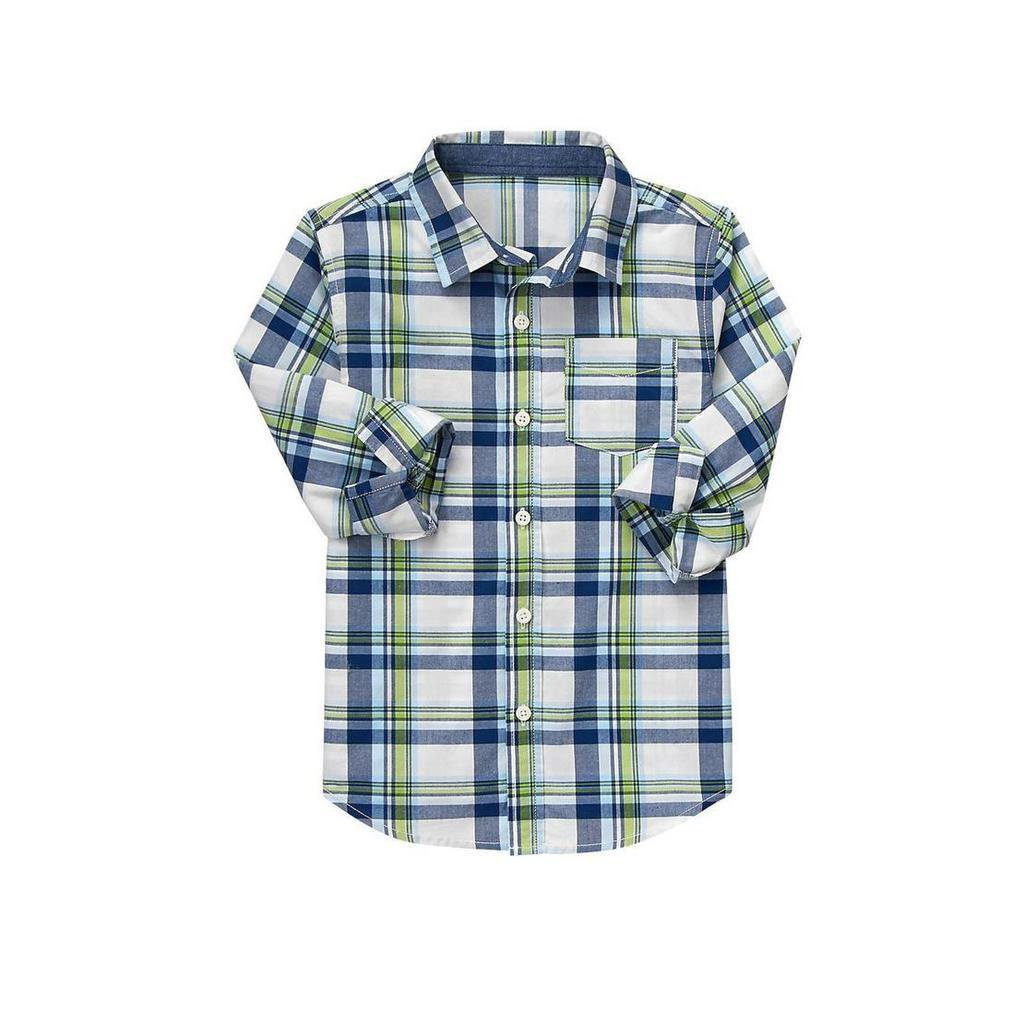 NWT Crazy 8 Blue Green Plaid Boys Long Sleeve Button Down Shirt Small 5-6