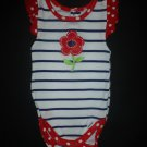 Gerber Baby Girls Blue White Striped Red Flower 4th of July Bodysuit 3-6 Months