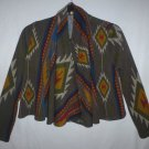 Audrey 3+1 Womens Aztec Tribal Crop Sweater Shawl Open Front Cardigan Size Small