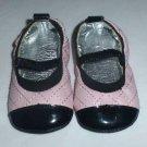 Baby Girl Pink Black Silver Ballerina Ballet Flats Crib Shoes 3-6 Months