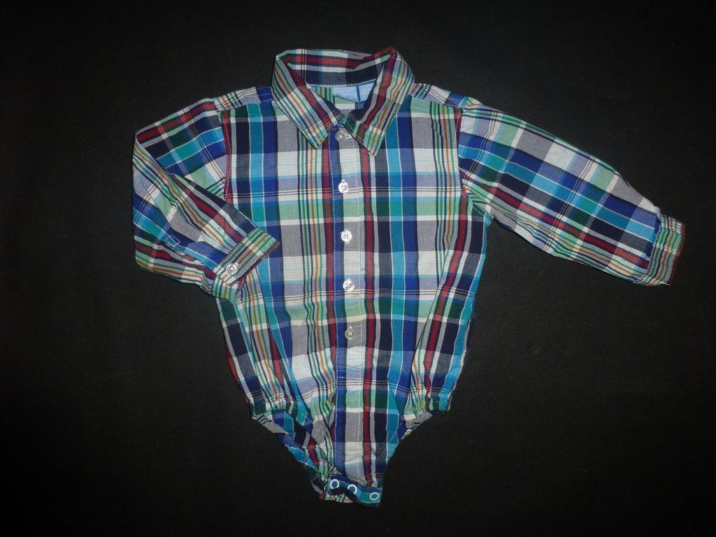 The Childrens Place Baby Boy Blue Plaid Long Sleeve Button Down Bodysuit 12-18 M