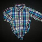 The Childrens Place Baby Boy Blue Plaid Long Sleeve Button Down Bodysuit 12-18 M