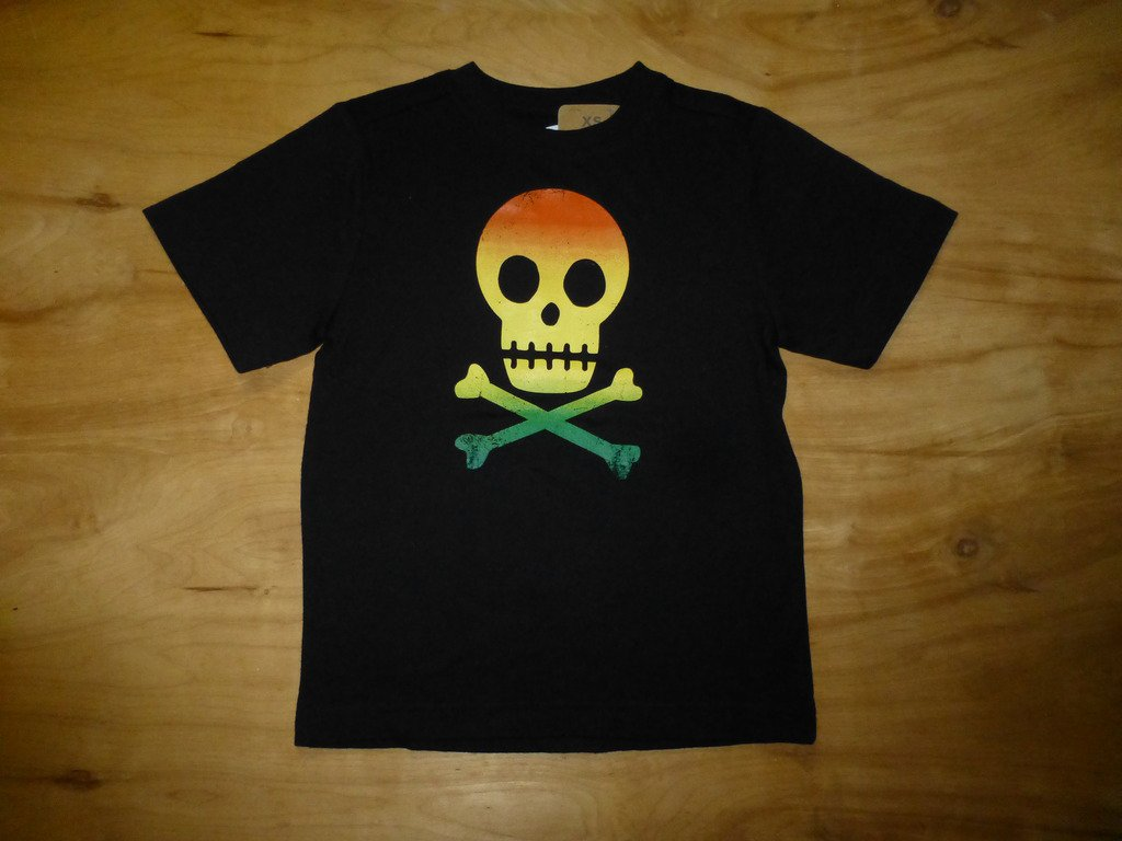 NWT Crazy 8 Rastafari Reggae Skull Boys Black Short Sleeve Shirt XS 4