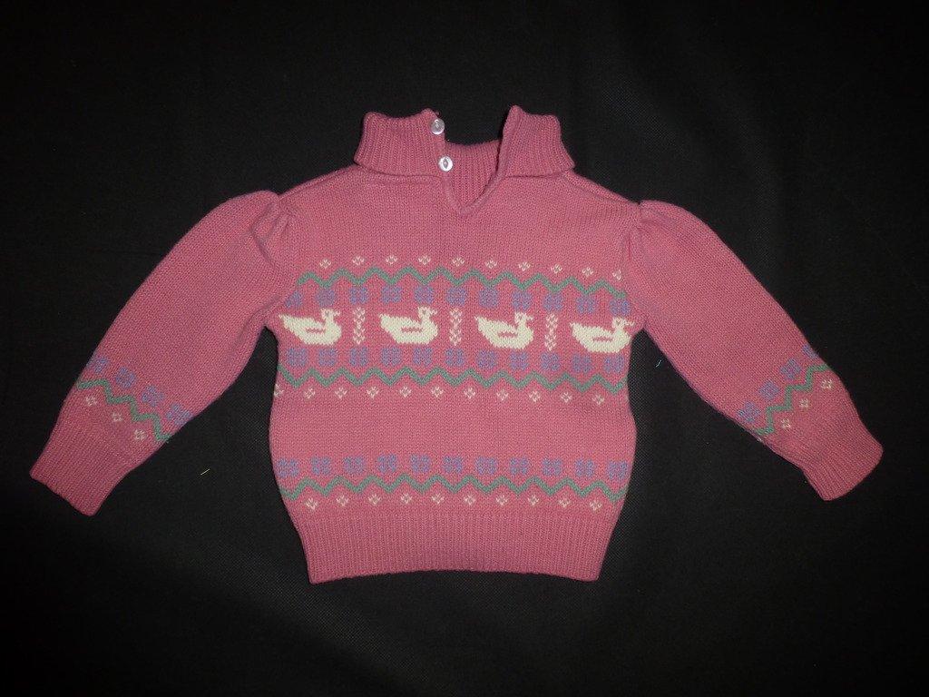 Sweet Cream Vintage Girls Pink Duck Sweater Size 2
