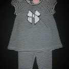 NWT First Impressions Baby Girl Black White Striped Tunic Leggings Outfit 6-9 M