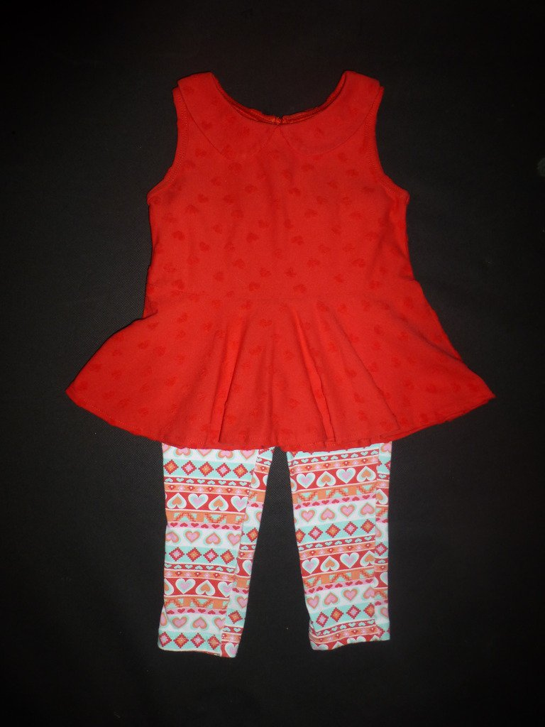 Swiggles Baby Girls Red Heart Tunic Shirt & Leggings Valentine's Outfit 18 M
