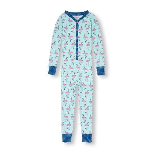 NWT The Children's Place Girls Blue Flamingo Stretchie Romper Sleeper Pajamas 5