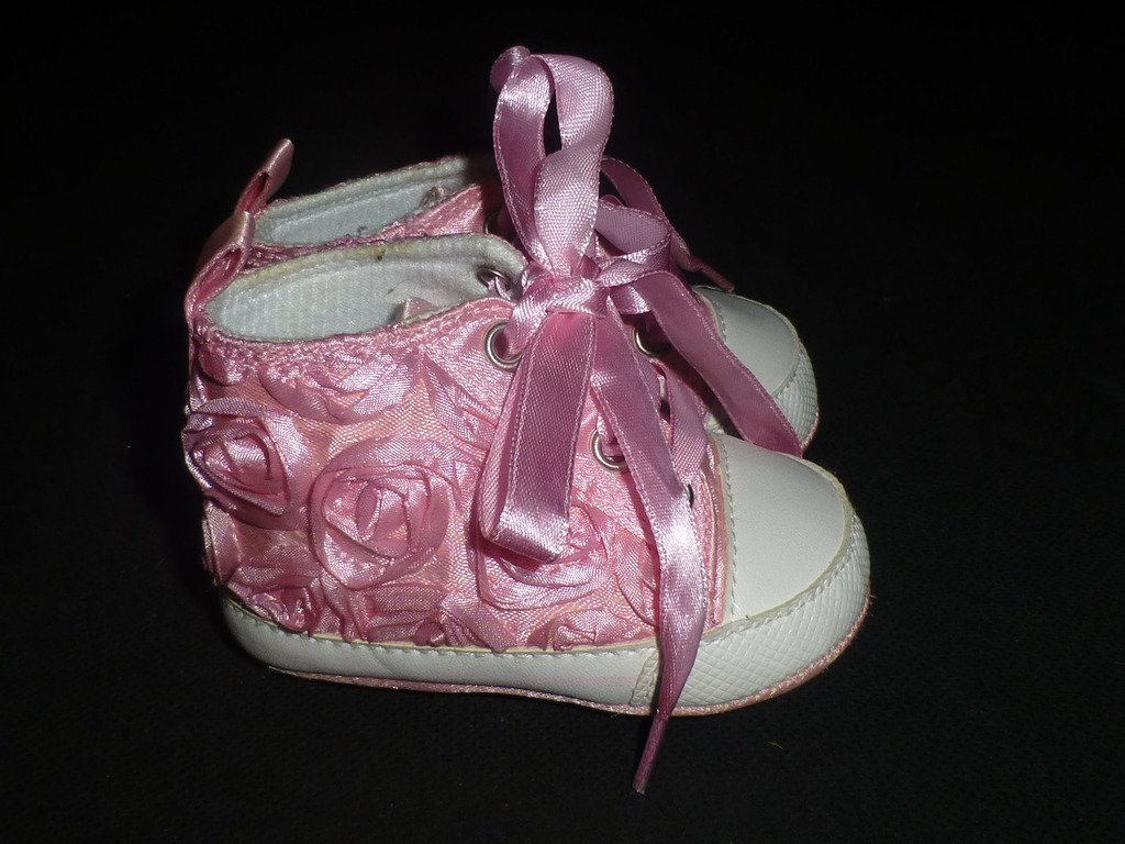 Bear Baby Girls Pink Floral Rose Embellished Crib Shoes Sneakers 3-6 Months