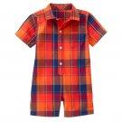NWT Gymboree Sunset Glow Baby Boy Orange Plaid Short Sleeve Romper 0-3 Months