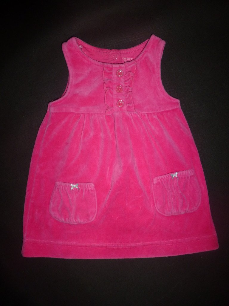 Carter's Baby Girl Pink Sleeveless Velour Dress 18 Months