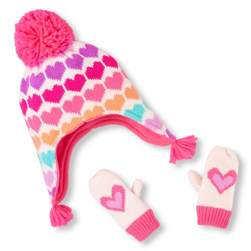 NWT The Children's Place Girls Neon Heart Print Hat Mittens Set 6-12 M 2T 3T