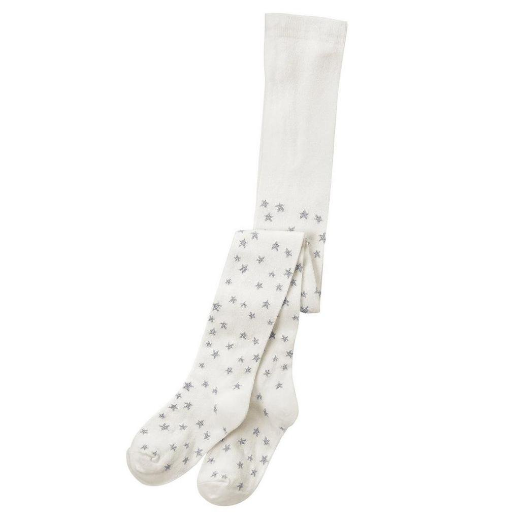 NWT Crazy 8 Toddler Girls White Silver Stars Tights 2T 3T
