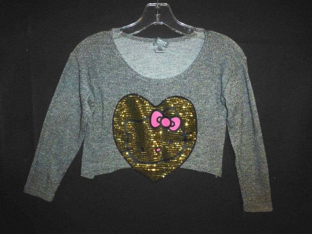 Hello Kitty Girl Gold Sequin Heart Gray Long Sleeve Cropped Shirt 7/8