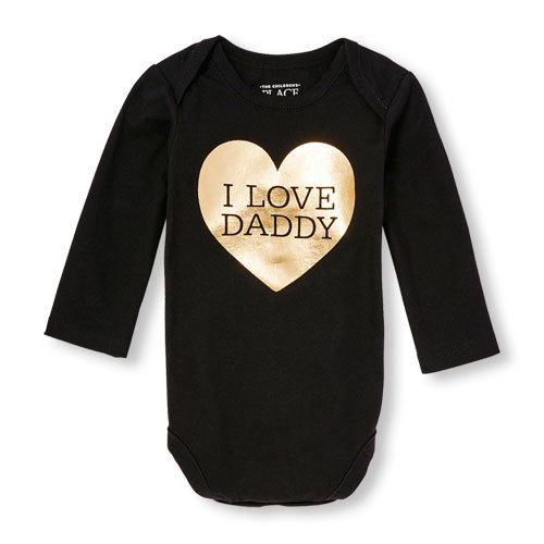 """NWT The Childrens Place """"I Love Daddy"""" Black Gold Heart Bodysuit 6-9 Months"""