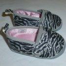 Rising Star Baby Girl Zebra Print Silver Glitter Slip On Crib Shoes 3-6 Months